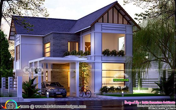 3 bedroom mixed roof Kerala home design
