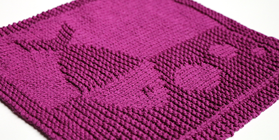 Knit Cotton Dishcloth or Washcloth with Textured Fish Image