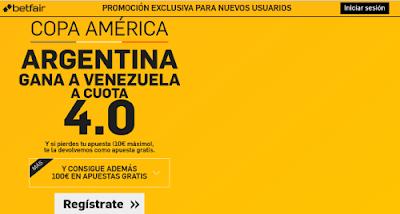 betfair Argentina gana Venezuela supercuota 4 Copa America 19 junio