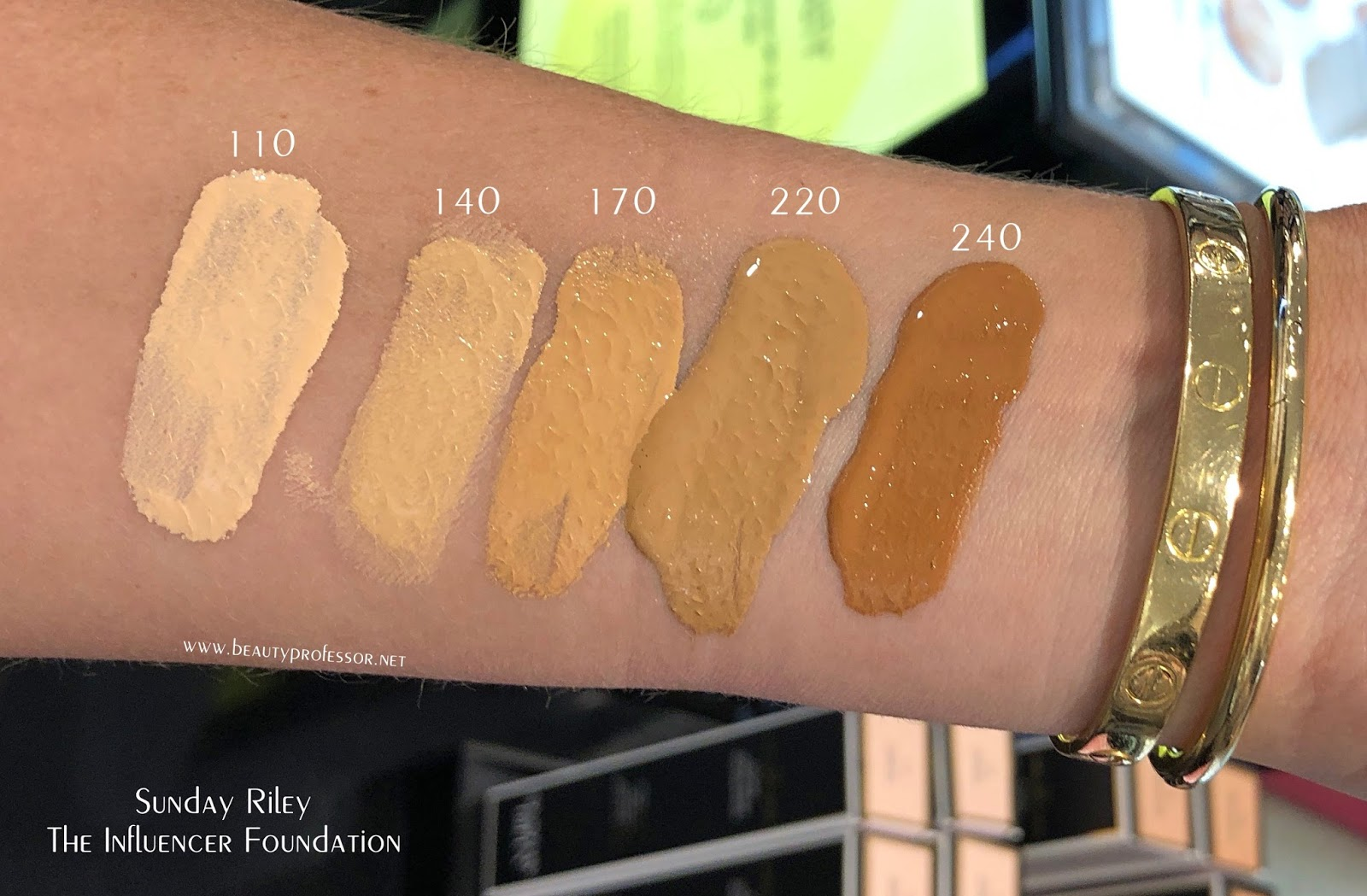sunday riley influencer foundation swatches