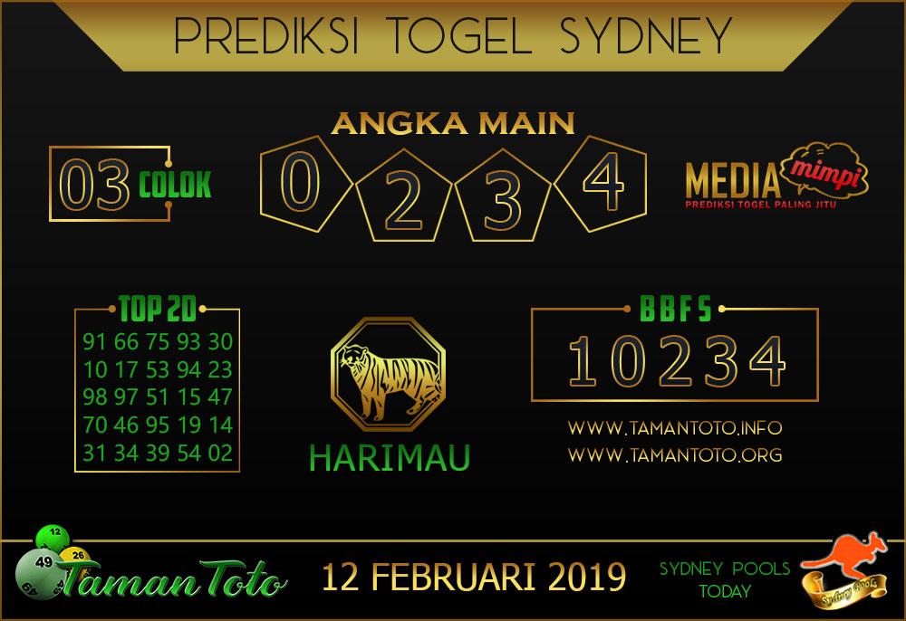 Prediksi Togel SYDNEY TAMAN TOTO 12 FEBRUARI 2019
