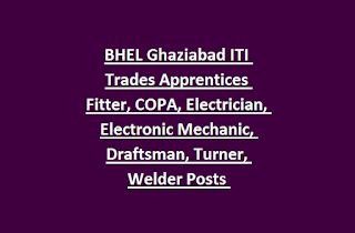BHEL Ghaziabad ITI Trades Apprentices Fitter, COPA, Electrician, Electronic Mechanic, Draftsman, Turner, Welder Posts Apprenticeship