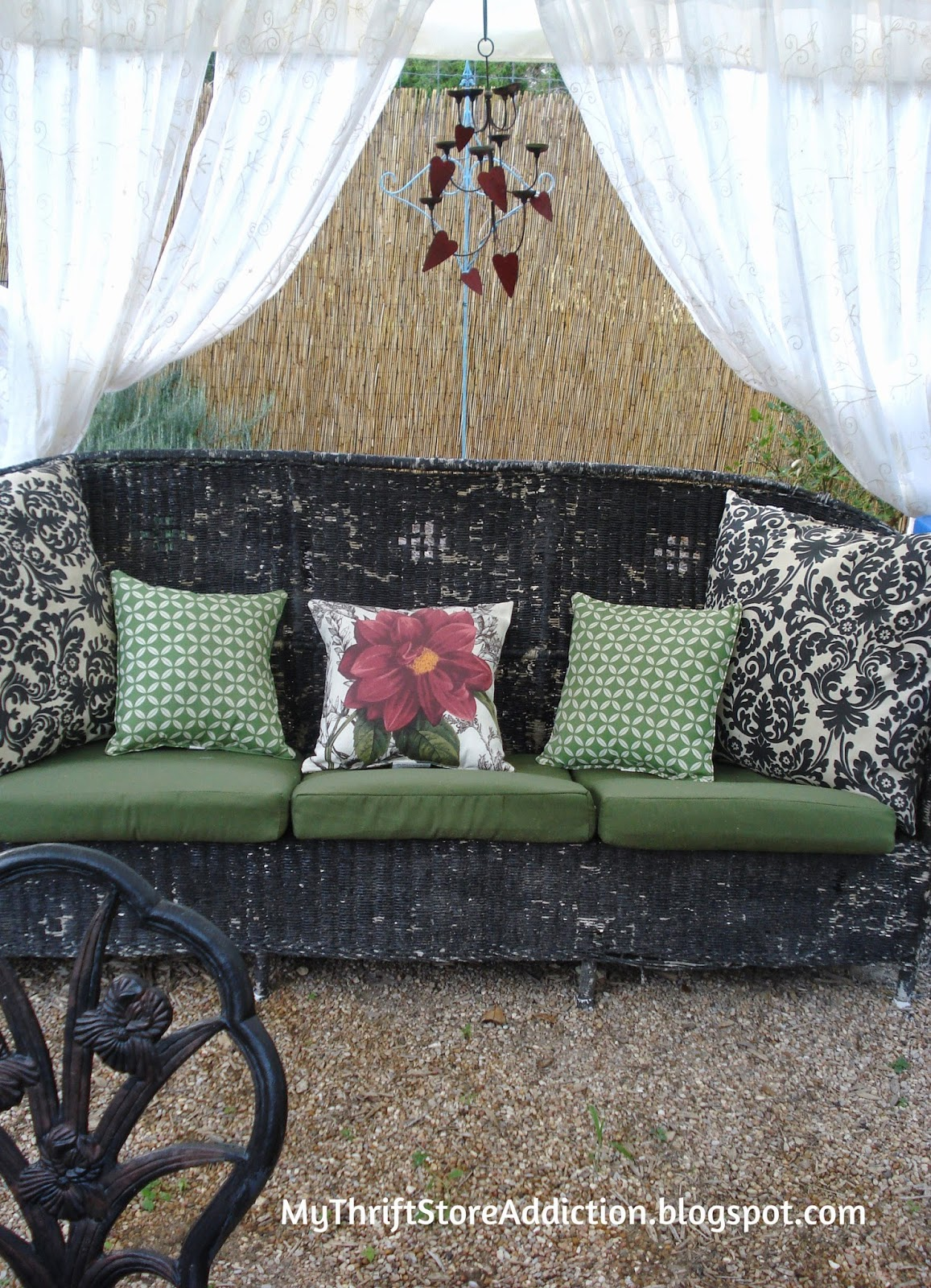 Welcome to Secret Garden: My Creative Space! mythriftstoreaddiction.blogspot.com An antique wicker sofa inside the scented gazebo surrounded by herbs