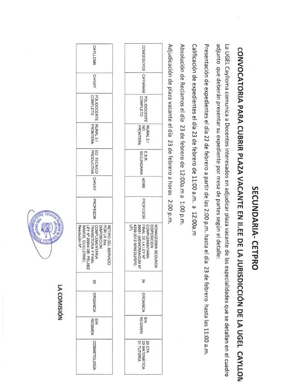 Convocatoria para cubrir plaza vacante en ii ee de la for Convocatoria de plazas docentes 2017