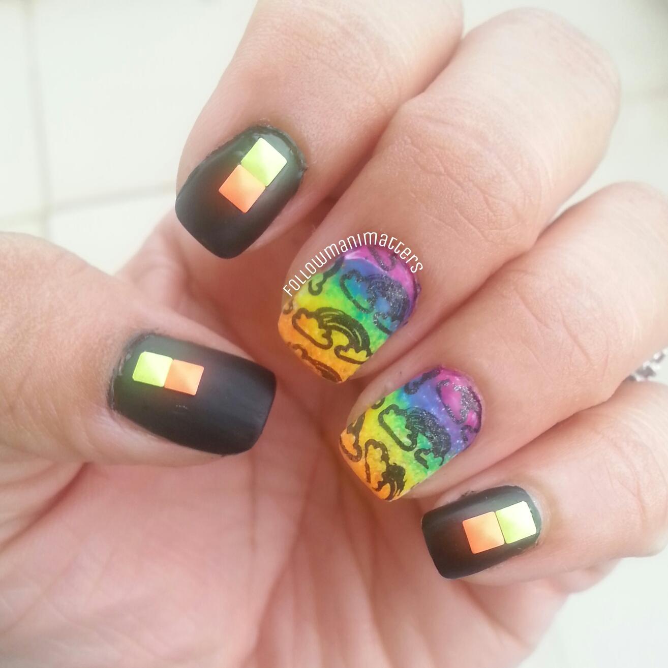 Manisha\'s FollowManimatters: #OMD2NAILS - Neon Rainbow Nail art