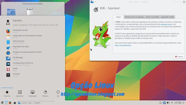 openSUSE Leap 42.1 com ambiente KDE 5