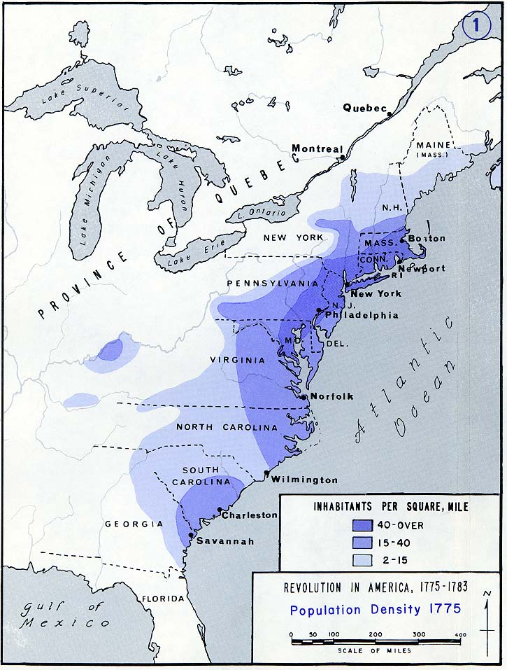 Population density of the 13 colonies (1775)