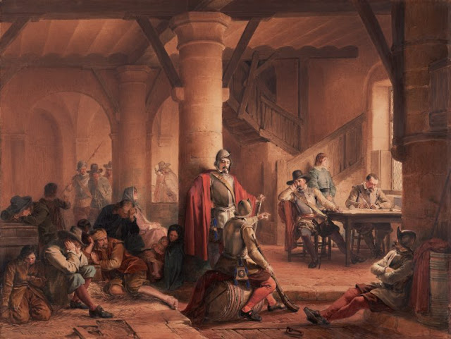 """Artwork, XIX century art, watercolours, """"The miseries of war"""" by Louis Haghe, 1850."""