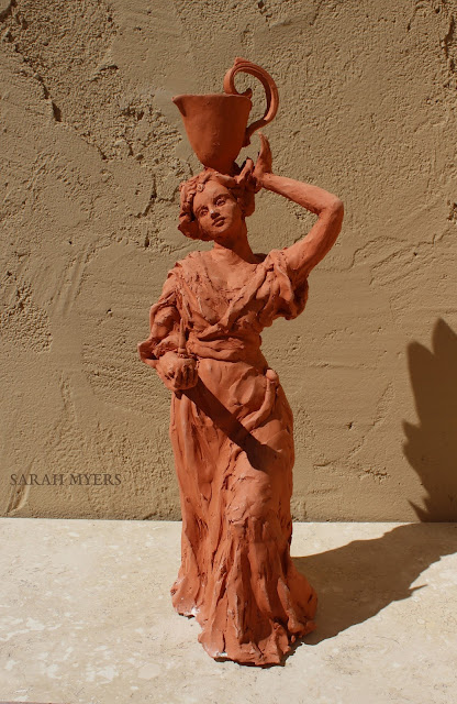 art, arte, kunst, sculpture, escultura, scultura, skulptur, Sarah, Myers, woman, water, pitcher, terracotta, red, earthenware, lady, baroque, contemporary, beautiful, elegant, figurative, artist, rapid, sculptor, sculpting, clay, earthenware, perfume, flask, vessel, agua, design
