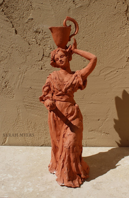 Woman with a Water Pitcher - Sculpture by Sarah Myers