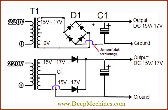 Rangkaian Adaptor 2 buah Dioda (CT)