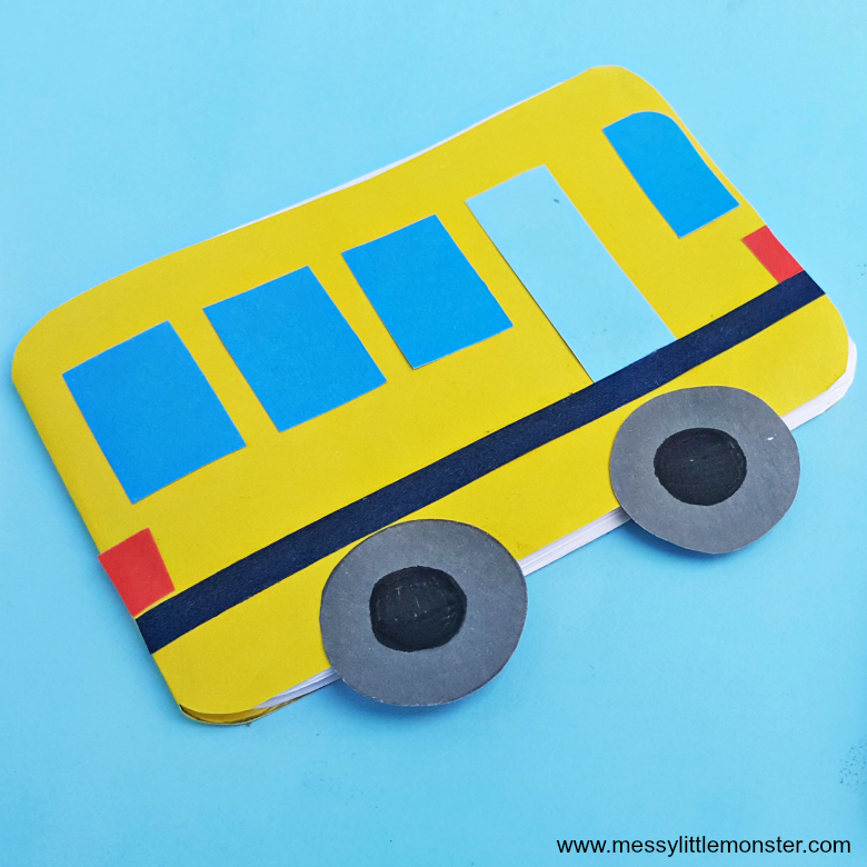 School bus craft - make a diy notebook