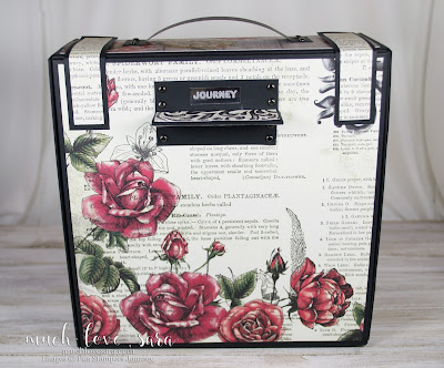 """Created using Fun Stampers Journey products, this gorgeous vintage style camera box has a clean shabby chic tstyle.  Opened up, the """"camera"""" extends out, leaving accordian folder style pockets, for photo storage or display.  Purchase the products used by visiting funstampersjourney.com/muchlovesara"""