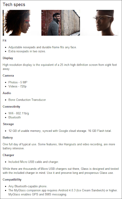 Technical, Hardware, Software Specifications and Features of Google Glass