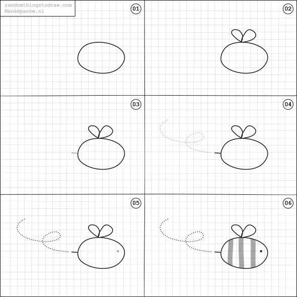 Cara Mudah Menggambar Lebah Untuk Anak-Anak