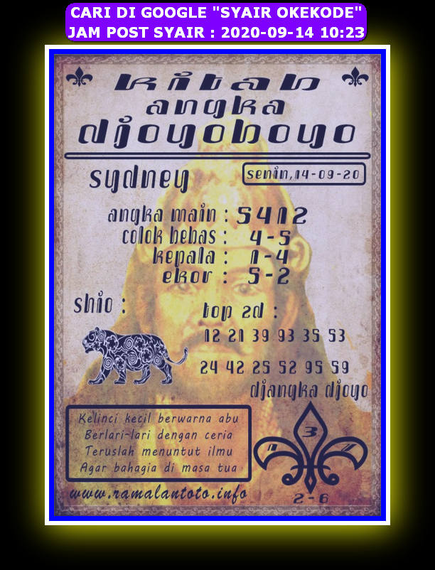 Kode syair Sydney Senin 14 September 2020 139