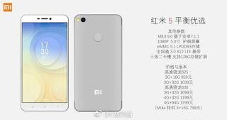 Descripton: bocoran spesifikasi, desain Xiaomi Redmi 5 Terbaru