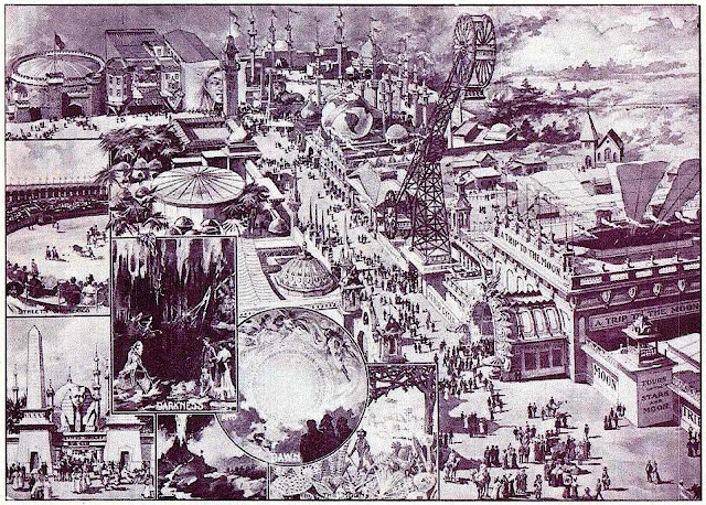 a 1901 amusement park, birdseye view looking down
