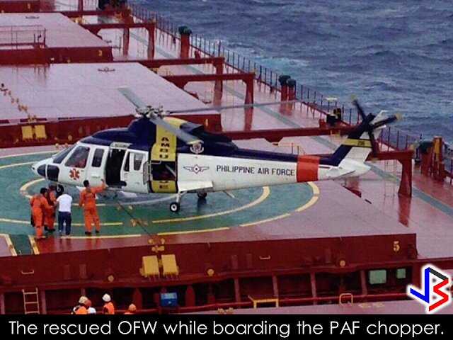 "The Philippine Air Force (PAF) rescued an overseas Filipino worker (OFW) who needed medical treatment while aboard an Italian ship cruising the West Philippine Sea last December 8. The rescued  Filipino crew member Able Seaman Jaime Jerome  is onboard the Italian vessel M/V Marlene D'Amato.  PAF spokesman Colonel Antonio Francisco said the ship ""requested for the aeromedical evacuation"" of Jerome.                    When the ship made this distress call, it was around 100 nautical miles west of Bolinao, Pangasinan.  Francisco said Air Force pilots lifted Jerome from M/V Marlene D'Amato to Villamor Air Base in Pasay City ""despite the high level of risks posed by the deteriorating weather condition en route and the rough sea conditions which made the landing at the ship deck more difficult.""  Francisco said this mission ""exemplifies the PAF's commitment to put into action its thrust of developing a Jointly Engaged Transforming Force for greater peace and security.""   Source:Rappler ©2016 THOUGHTSKOTO"
