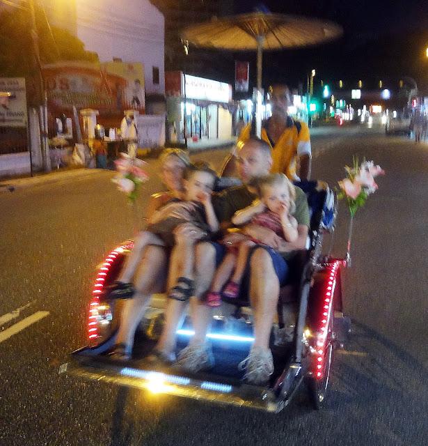 Penang family fun at night in the Rikschaw