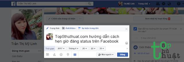 Thiết lập hẹn giờ đăng status trên Facebook