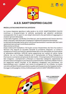 Inizia la stagione sportiva 2017 - 2018 del Sant'Onofrio Calcio