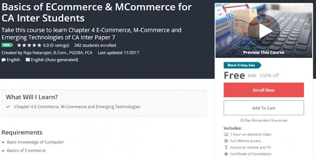 [100% Off] Basics of ECommerce & MCommerce for CA Inter Students| Worth 40$