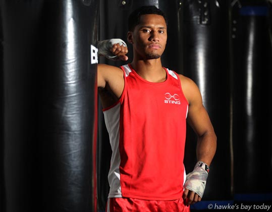 Saili Fiso, Hastings Giants Boxing Academy, Hastings, preview for a boxing tournament this weekend. photograph