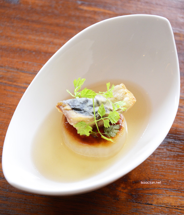 Crispy Fish Saba on radish stock soup