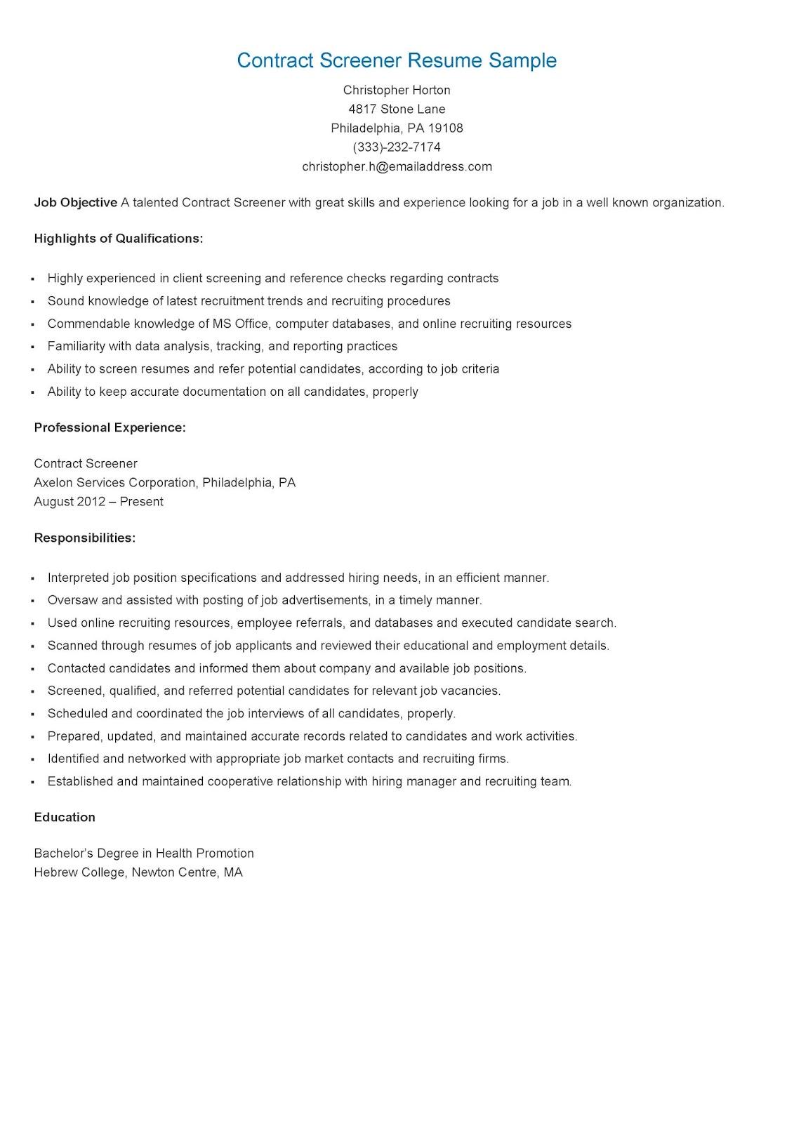 resume samples  contract screener resume sample