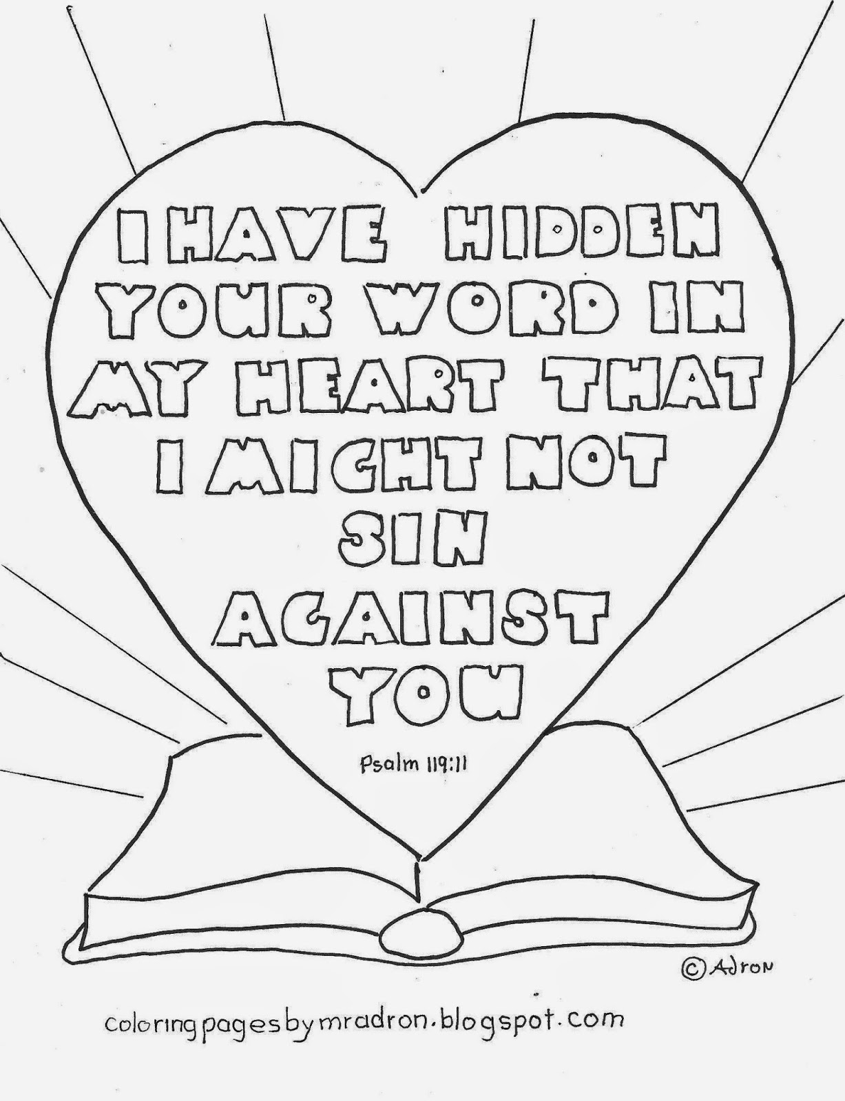 free christian coloring pages of a heart | Coloring Pages for Kids by Mr. Adron: I Have Hidden Your ...