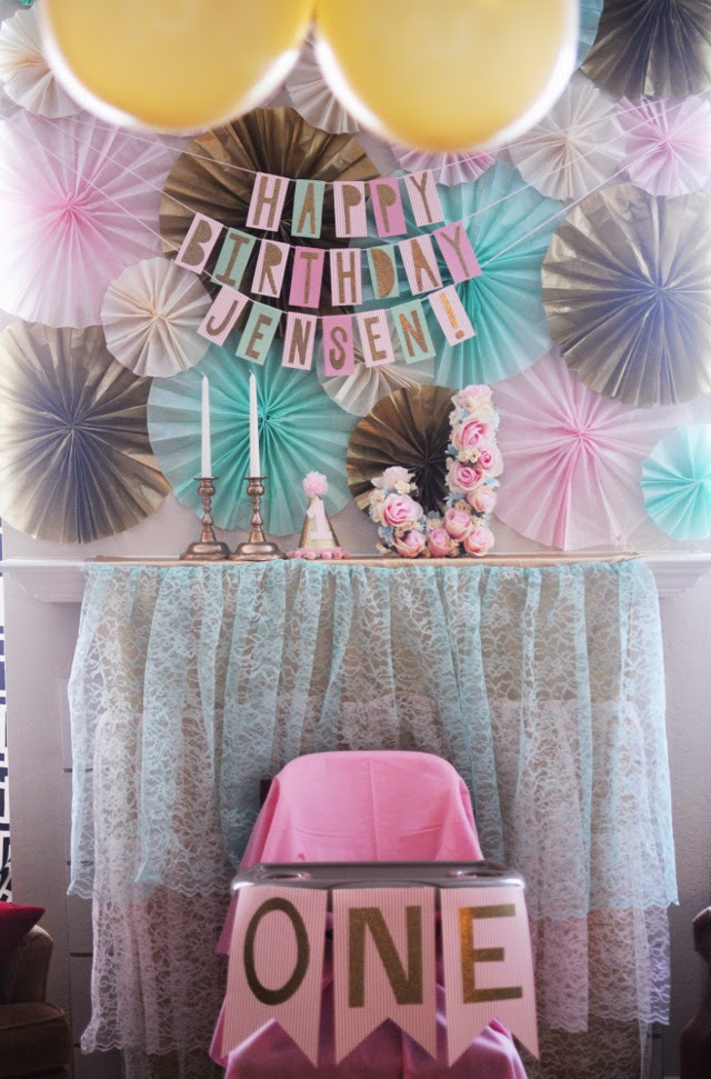 tissue paper fans, diy flower letter, lace tiered backdrop
