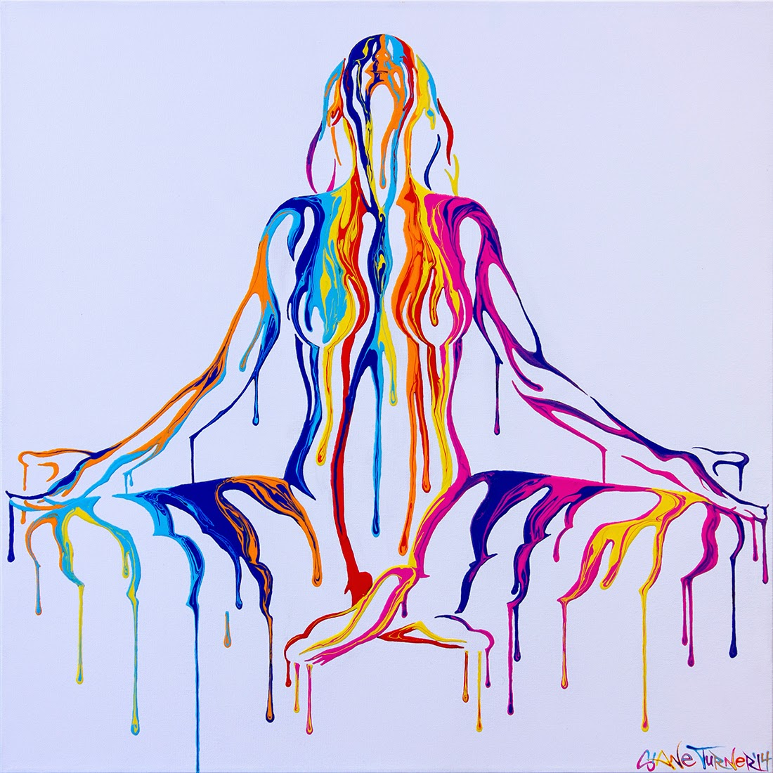 Surreal urban pop art painting of a nude woman created out of dripping colorful psychedelic paintin a lotus mediating type yoga pose. Painted using bright acrylic glossy paints on canvas.