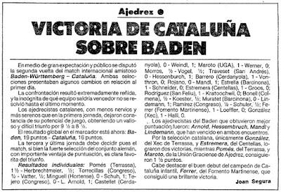 Encuentro de ajedrez Cataluña contra Baden-Württemberg, 1985