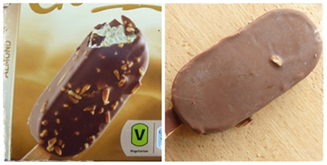almond choc ice has just one piece of almond!