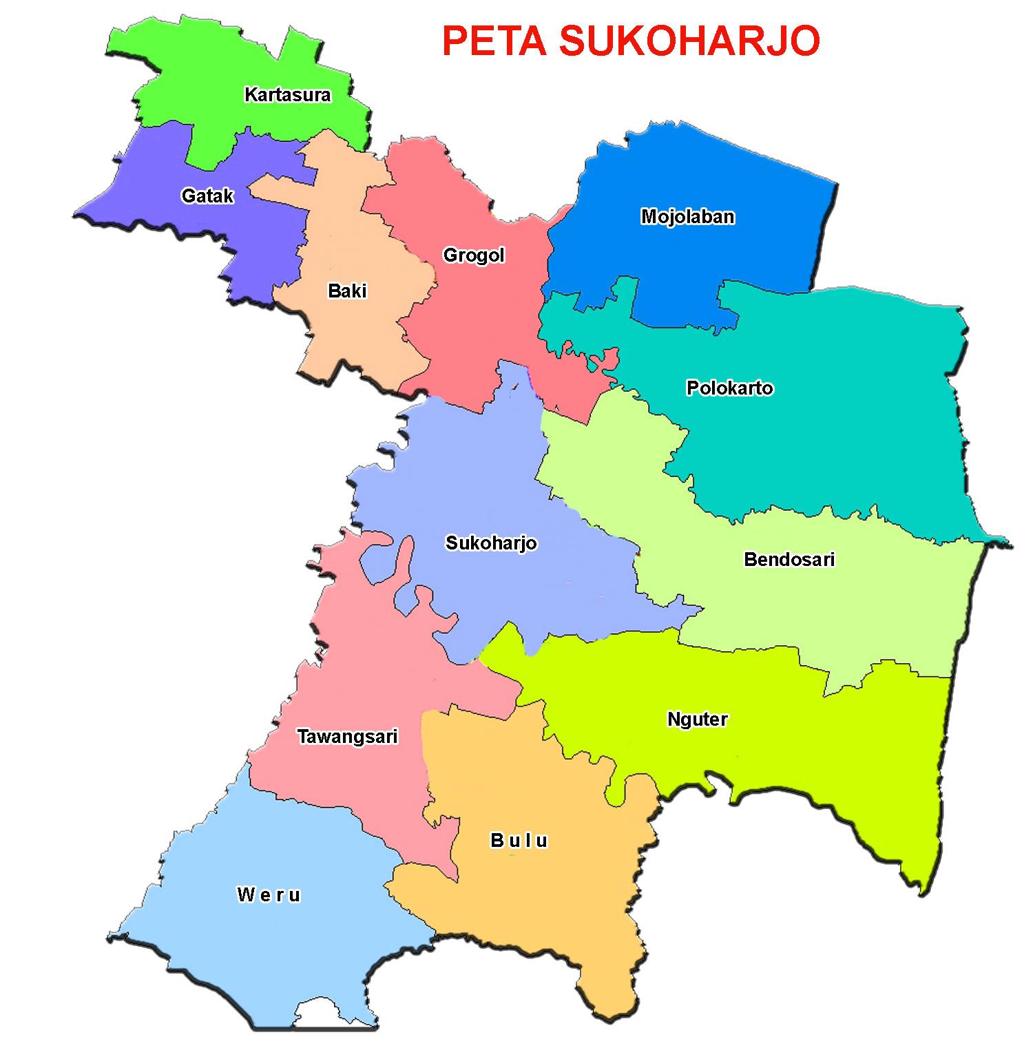 Peta Kabupaten Sukoharjo Lengkap 12 Kecamatan - Sejarah ...