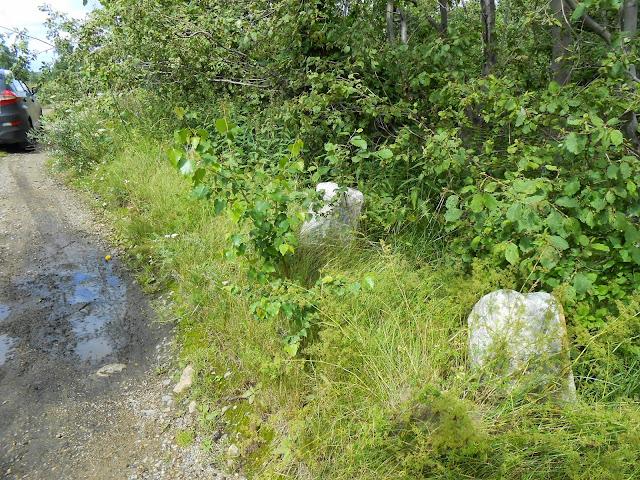 Каменные столбы старинной плотины на озере Киреты