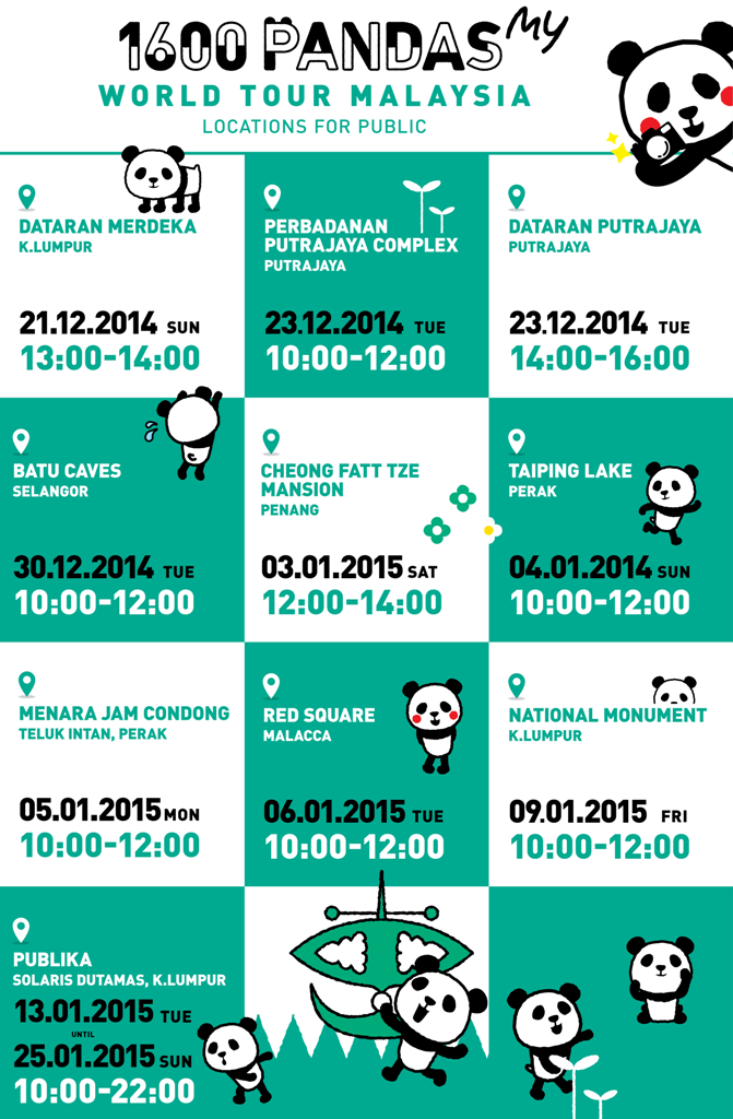 1600 Pandas Tour Locations & Schedule in Malaysia