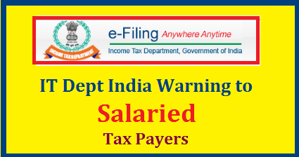 INCOME TAX DEPARTMENT WARNS SALARIED TAXPAYERS AGAINST TAX EVASION BY UNDER-REPORTING INCOME The income tax department has warned salaried taxpayers against under-reporting income or inflating deductions/exemptions while filing income tax returns. In an advisory uploaded on the e-filing website today the tax department cautioned salaried taxpayers that such under-reporting / inflating deductions/exemptions is punishable under the Income Tax Act.