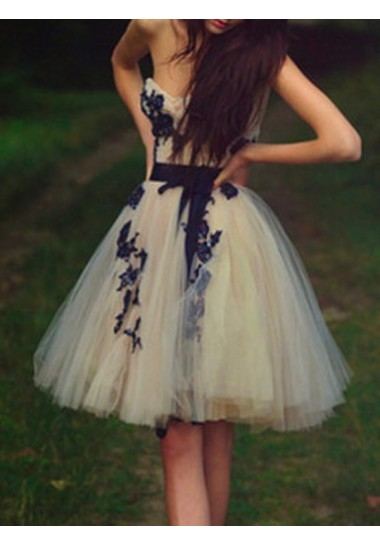 Bateau Knee-length Tulle Homecoming Dresses Lace Short Prom Dresses #SP8456