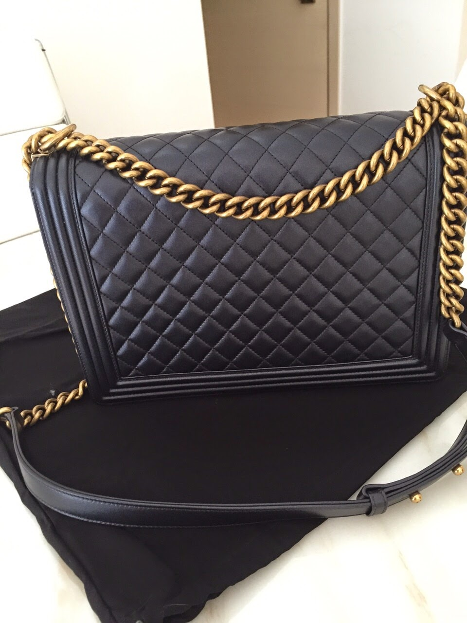 894e8a246a6c Brand New boy Chanel with gold hardware, in large size. Classic Black, so  versatile. Comes with Dust bag and authenticity card.