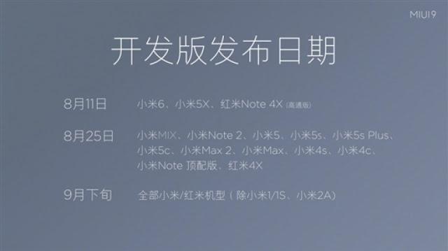 Xiaomi Mi 6 dan Redmi Note 4X Mendapat MIUI 9 pada 11 August Kemarin