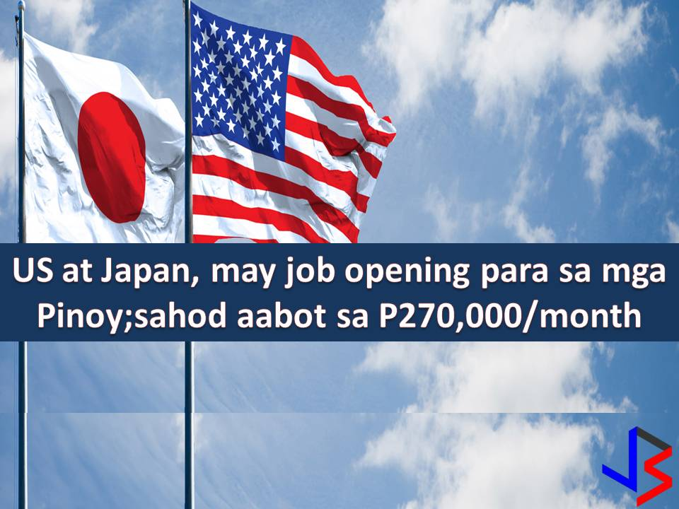 If you are looking for opportunities abroad, here are some that might give you interest. Thousands of job vacancies in the United States and Japan are now open for Filipinos to apply.  This include physiotherapist and physical therapist with a monthly salary of P270,000.