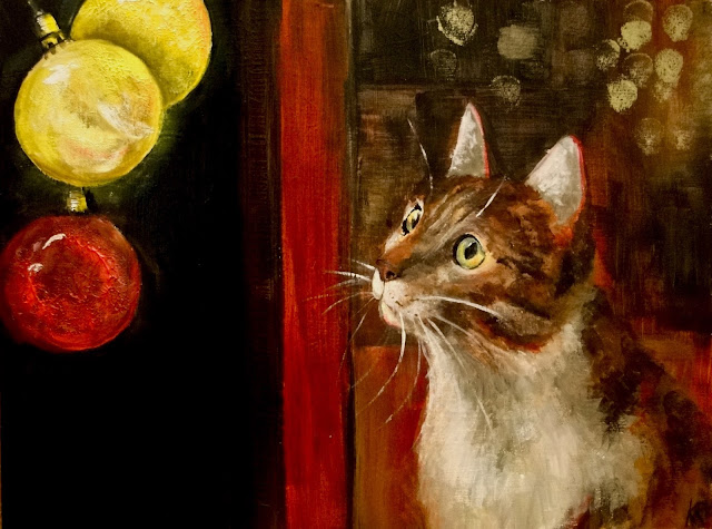 Christmas Eve, cat and baubles, an oil painting, the night before Christmas