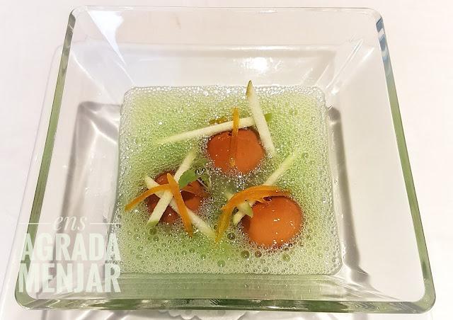 emulsió de iogurt i vinagre de mòdena amb sopa de poma verda