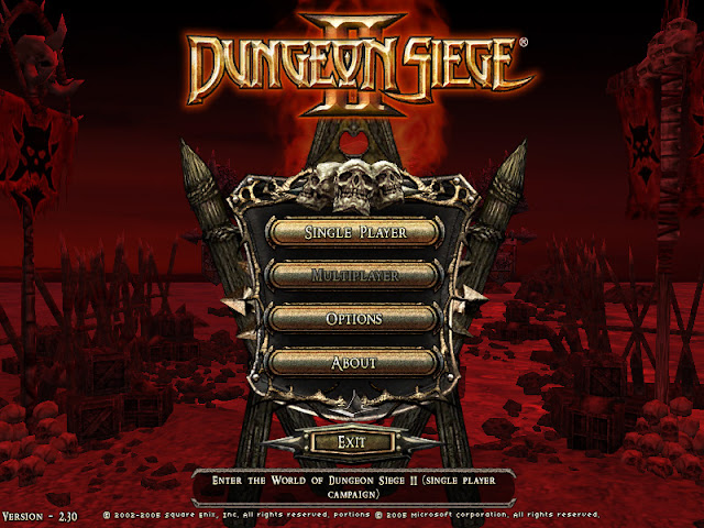 Dungeon Siege 2 title menu screen