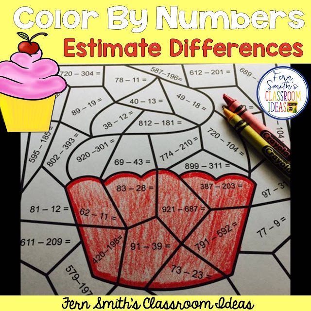 Free Color By Numbers for 1.8 Rounding to Estimate Difference