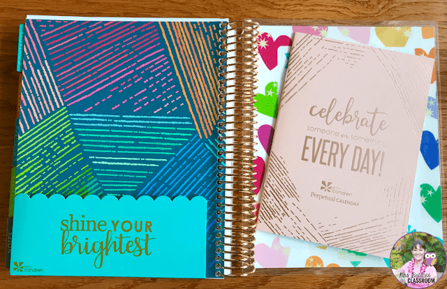 Erin Condren Life Planner inside pocket and perpetual calendar.