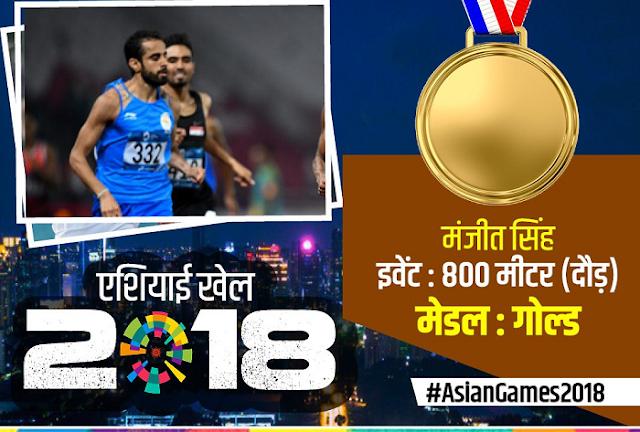 ASIAN GAMES: मनजीत सिंह ने किया भारत के नाम एक और GOLD MEDAL