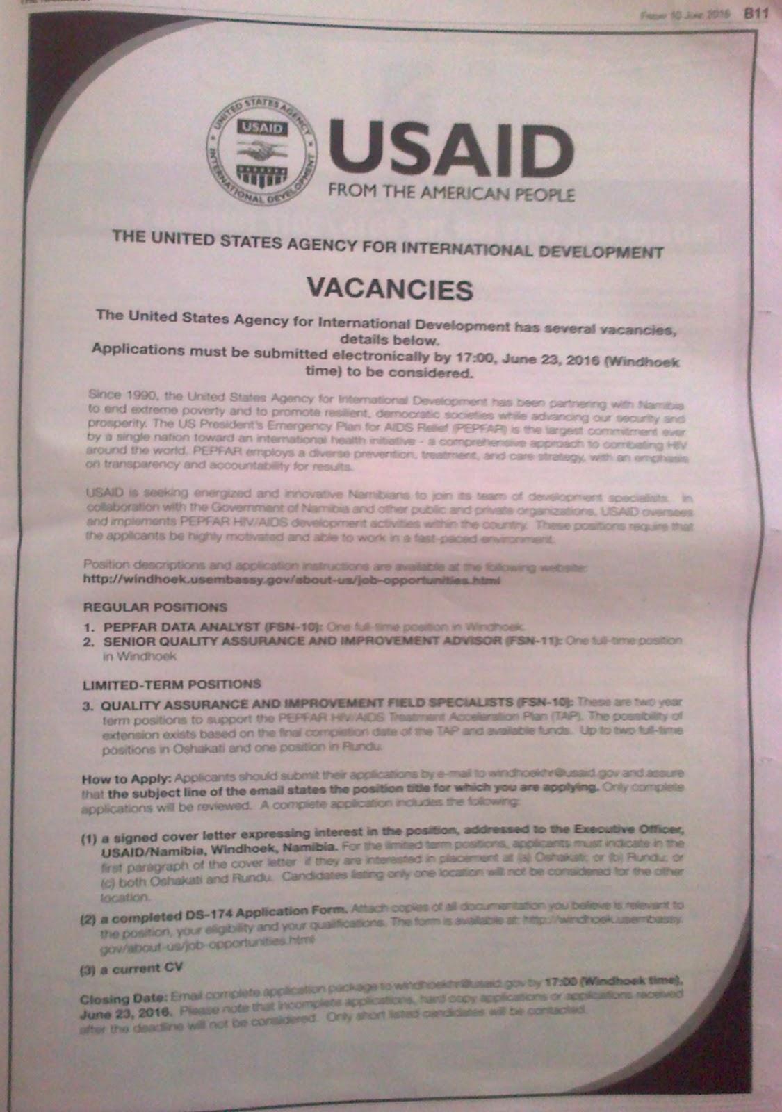 Current Vacancies Namibia